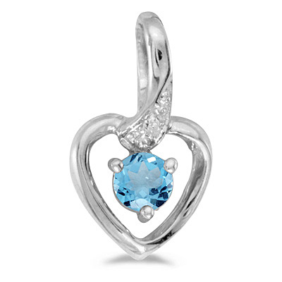 Blue Topaz and Diamond Heart Pendant Necklace 14k White Gold