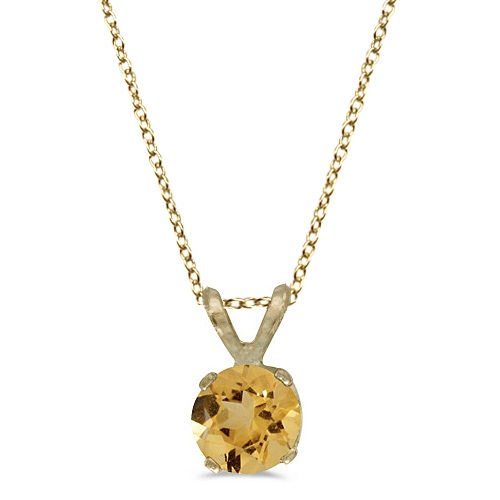 Round Citrine Solitaire Pendant Necklace 14K Yellow Gold (0.40ct)