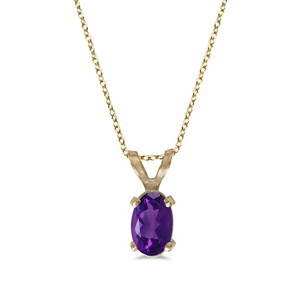 Oval Amethyst Solitaire Pendant Necklace in 14K Yellow Gold (0.45ct)