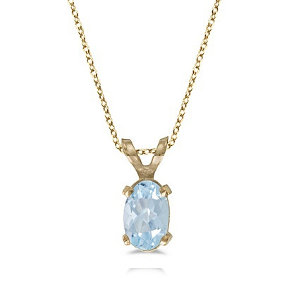 Oval Aquamarine Solitaire Pendant Necklace in 14K Yellow Gold (0.40ct)