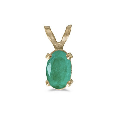 Oval Emerald Solitaire Pendant Necklace in 14K Yellow Gold (0.45ct)