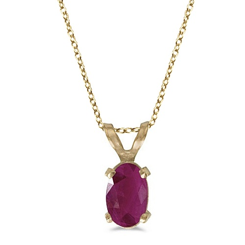 Oval Ruby Solitaire Pendant Necklace in 14K Yellow Gold (0.60ct)
