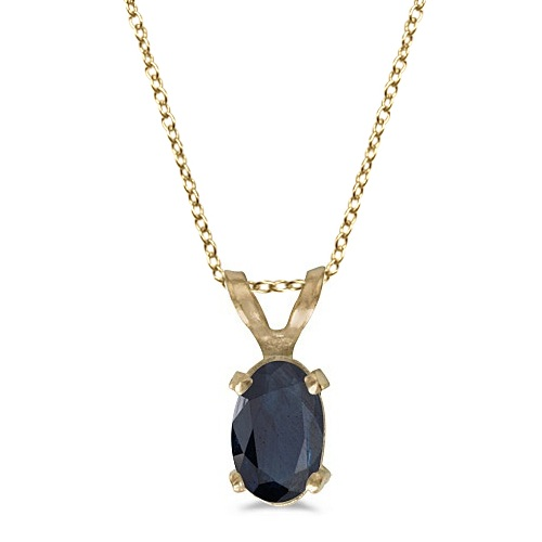 Oval Blue Sapphire Solitaire Pendant Necklace 14K Yellow Gold (0.55ct)