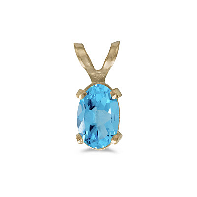 Oval Blue Topaz Solitaire Pendant Necklace 14K Yellow Gold (0.57ct)