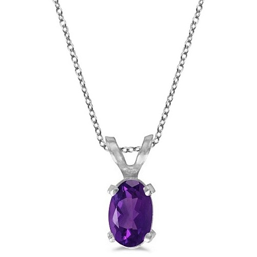 Oval Amethyst Solitaire Pendant Necklace in 14K White Gold (0.45ct)