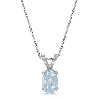 Oval Aquamarine Solitaire Pendant Necklace in 14K White Gold (0.40ct)