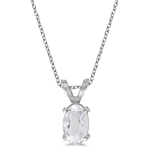 Oval White Topaz Solitaire Pendant Necklace 14K White Gold (0.57ct)
