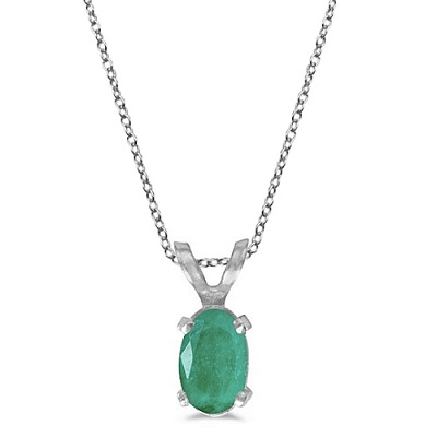 Oval Emerald Solitaire Pendant Necklace in 14K White Gold (0.45ct)
