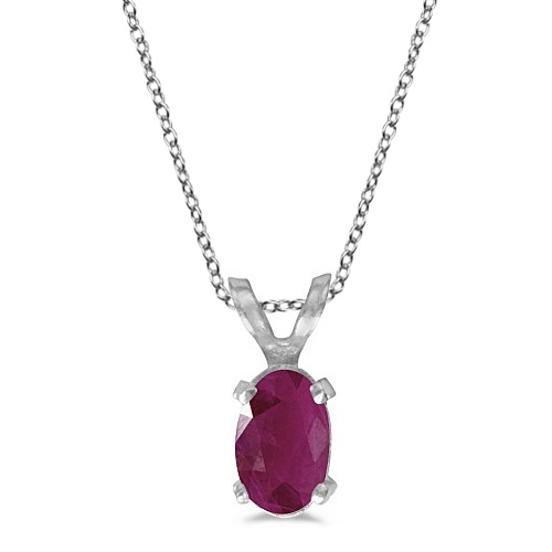 Oval Ruby Solitaire Pendant Necklace in 14K White Gold (0.60ct)