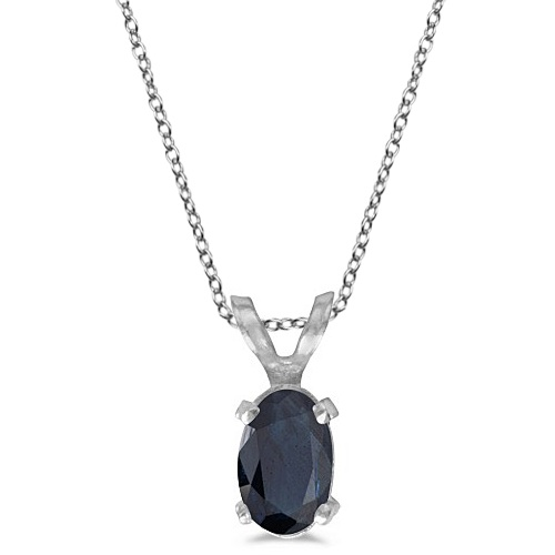 Oval Blue Sapphire Solitaire Pendant Necklace 14K White Gold (0.55ct)