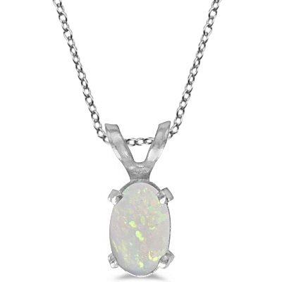 Oval Opal Solitaire Pendant Necklace in 14K White Gold (0.27ct)