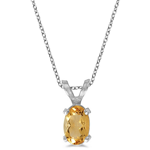 Oval Citrine Solitaire Pendant Necklace in 14K White Gold (0.45ct)