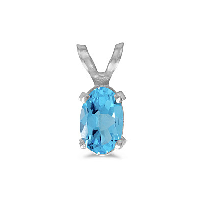 Oval Blue Topaz Solitaire Pendant Necklace 14K White Gold (0.57ct)