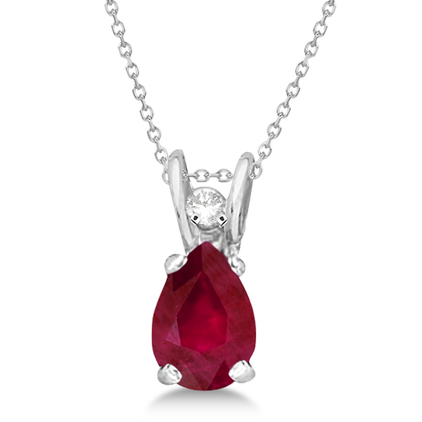 Pear Ruby and Diamond Pendant 14K White Gold (0.63tcw)