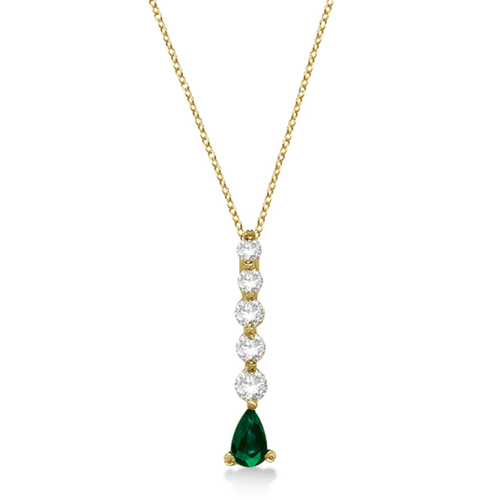 Graduated Diamond & Pear Emerald Drop Pendant 14k Yellow Gold (0.60ctw)