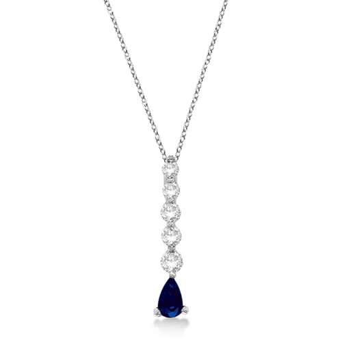 Graduated Diamond & Pear Sapphire Drop Pendant 14k White Gold (0.60ctw)