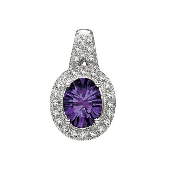 Oval Amethyst and Diamond Pendant Necklace 14k White Gold