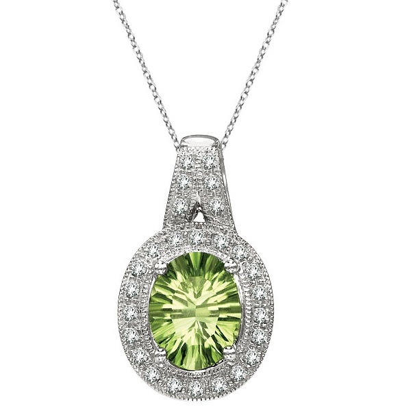 Oval Peridot and Diamond Pendant Necklace 14k White Gold