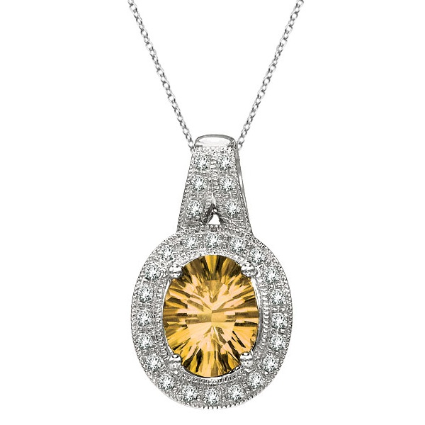 Oval Citrine and Diamond Pendant Necklace 14k White Gold