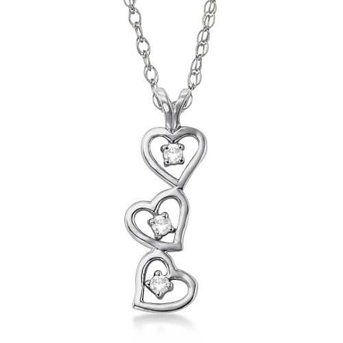 Triple Heart Diamond Pendant Necklace 14k White Gold (0.15ct)