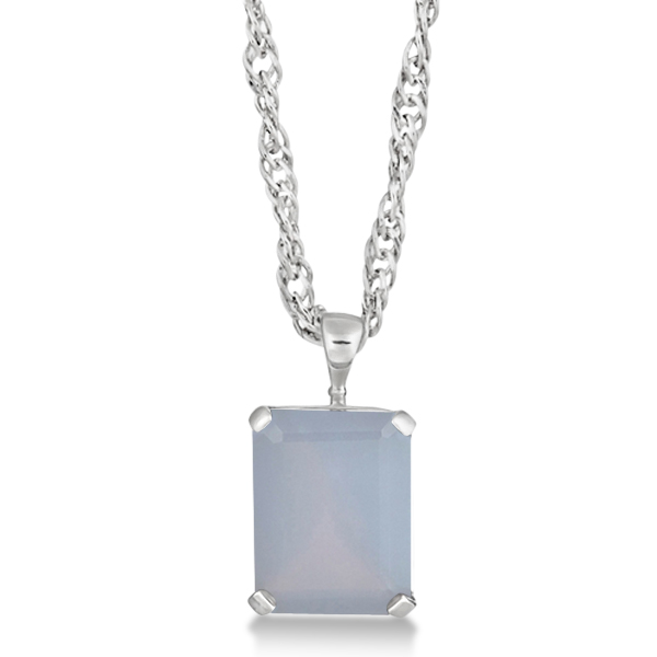 Emerald Cut Blue Chalcedony Gemstone Pendant Sterling Silver 10.75ct