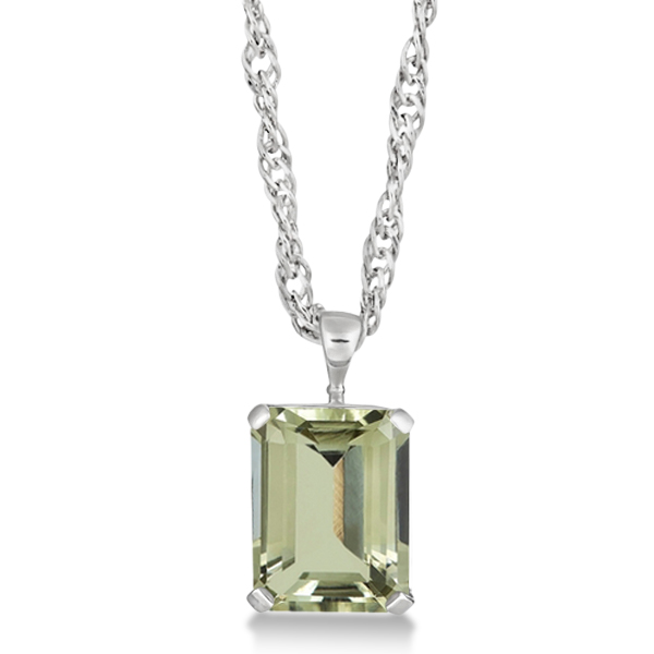 Emerald Cut Green Amethyst Pendant Necklace Sterling Silver 10.75ct