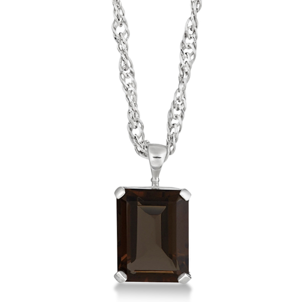 Emerald Cut Smoky Quartz Pendant Sterling Silver 10.75ct
