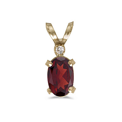 Garnet & Diamond Solitaire Filagree Pendant 14K Yellow Gold (0.55ct)