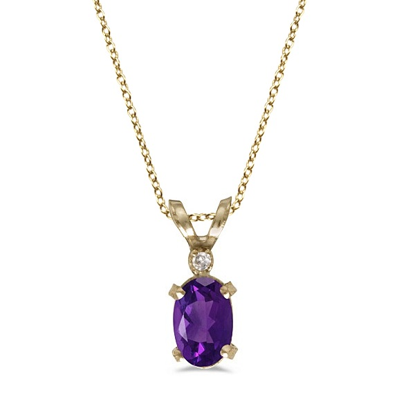 Amethyst & Diamond Solitaire Filagree Pendant 14K Yellow Gold (0.45ct)