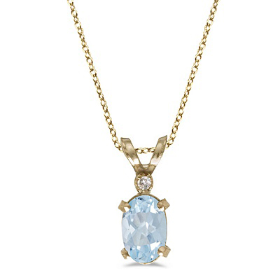 Aquamarine & Diamond Solitaire Filagree Pendant 14K Yellow Gold 0.40ct