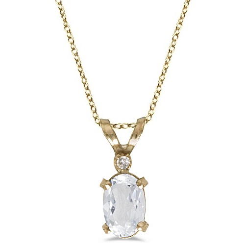 White Topaz & Diamond Solitaire Pendant 14K Yellow Gold (0.60ct)