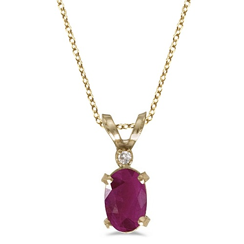 Ruby & Diamond Solitaire Filagree Pendant 14K Yellow Gold (0.60ct)