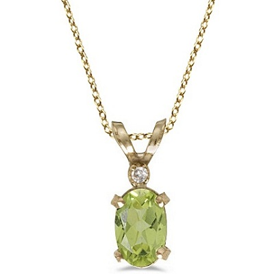Peridot & Diamond Solitaire Filagree Pendant 14K Yellow Gold (0.55ct)