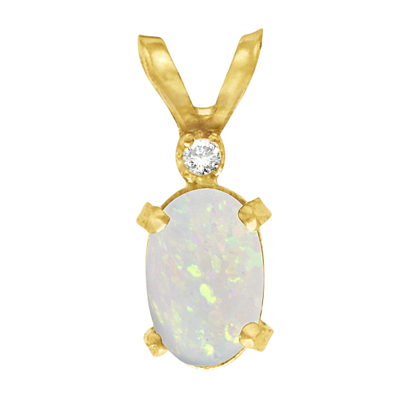 Oval Opal and Diamond Filagree Pendant in 14K Yellow Gold (0.27ct)