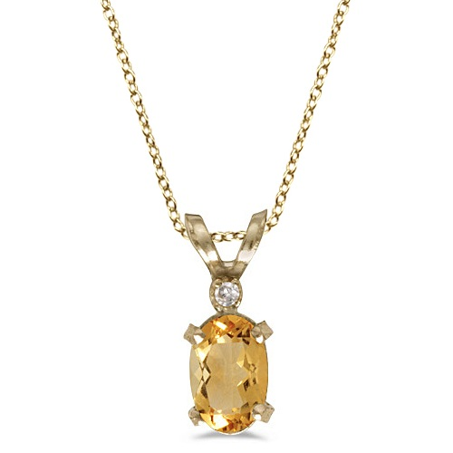Oval Citrine and Diamond Solitaire Pendant in 14K Yellow Gold (0.45ct)