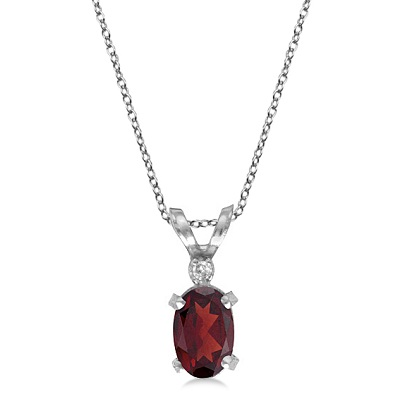 Garnet & Diamond Solitaire Filagree Pendant 14K White Gold (0.55ct)