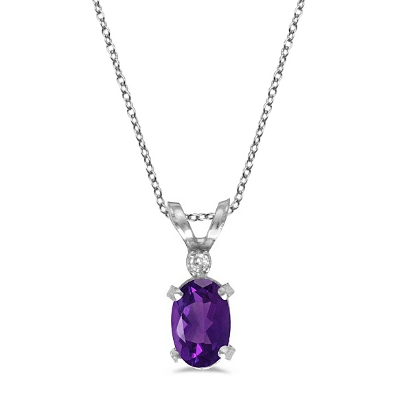 Amethyst & Diamond Solitaire Filagree Pendant 14K White Gold (0.45ct)