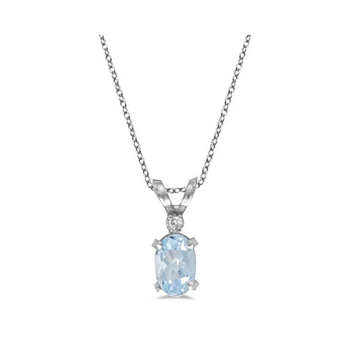 Aquamarine & Diamond Solitaire Filagree Pendant 14K White Gold 0.40ct