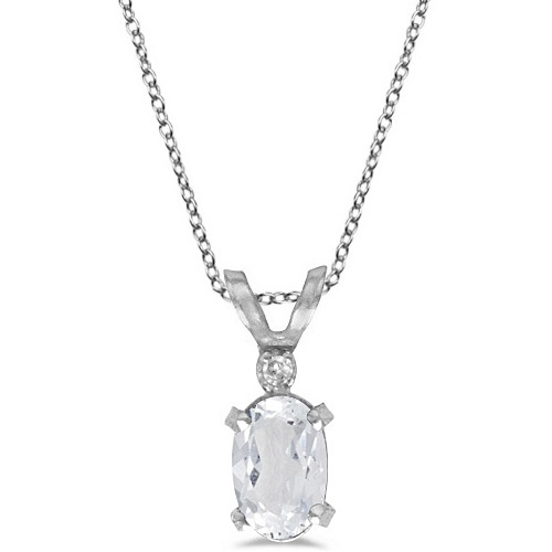 White Topaz & Diamond Solitaire Filagree Pendant 14K W. Gold (0.60ct)