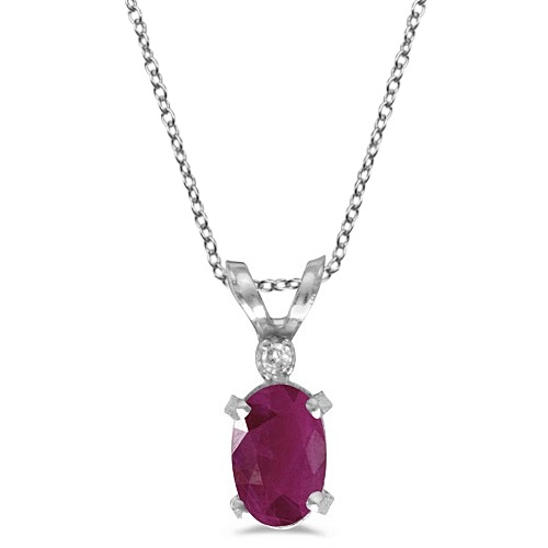 Ruby & Diamond Solitaire Filagree Pendant 14K White Gold (0.60ct)