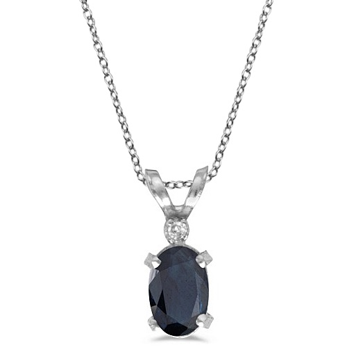Sapphire & Diamond Solitaire Filagree Pendant 14K White Gold (0.55ct)
