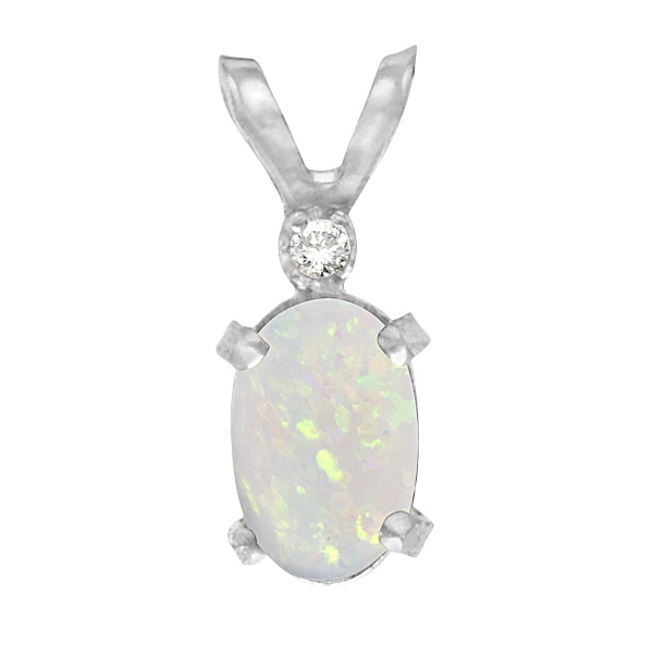 Oval Opal and Diamond Filagree Pendant in 14K White Gold (0.27ct)