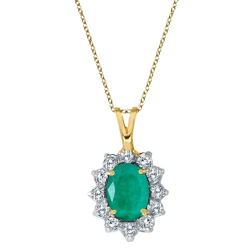 Emerald & Diamond Accented Pendant Necklace 14k Yellow Gold (1.50ctw)