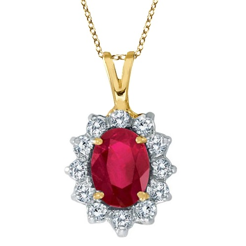 Ruby & Diamond Accented Pendant Necklace 14k Yellow Gold (1.80ctw)