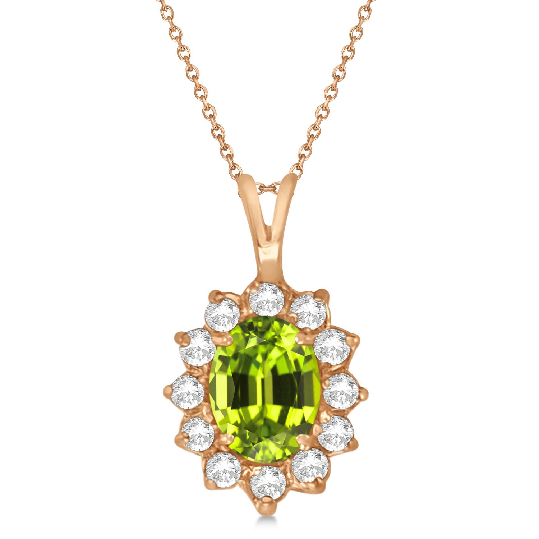 Peridot & Diamond Accented Pendant Necklace 14k Rose Gold (1.70ctw)