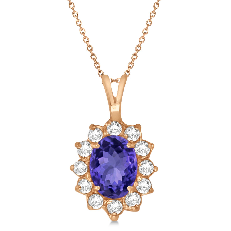 Tanzanite & Diamond Accented Pendant Necklace 14k Rose Gold (1.70ctw)