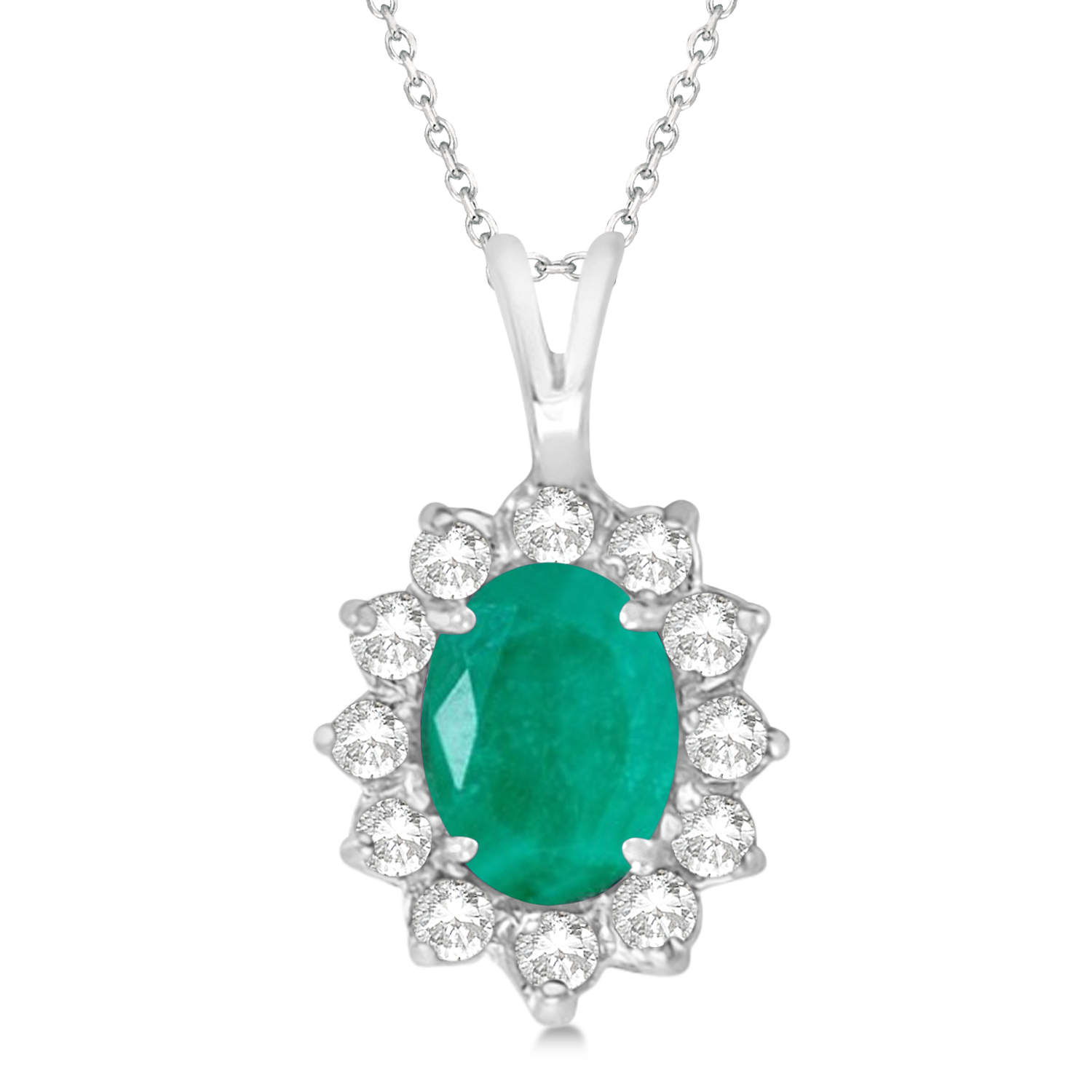 Emerald & Diamond Accented Pendant Necklace 14k White Gold (1.50ctw)