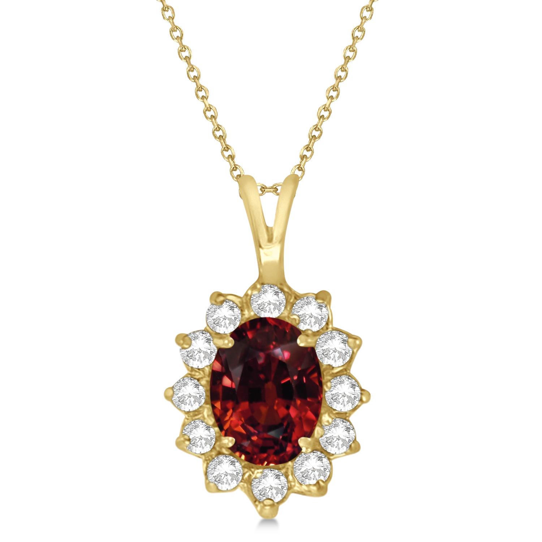 Garnet & Diamond Accented Pendant Necklace 14k Yellow Gold (1.70ctw)