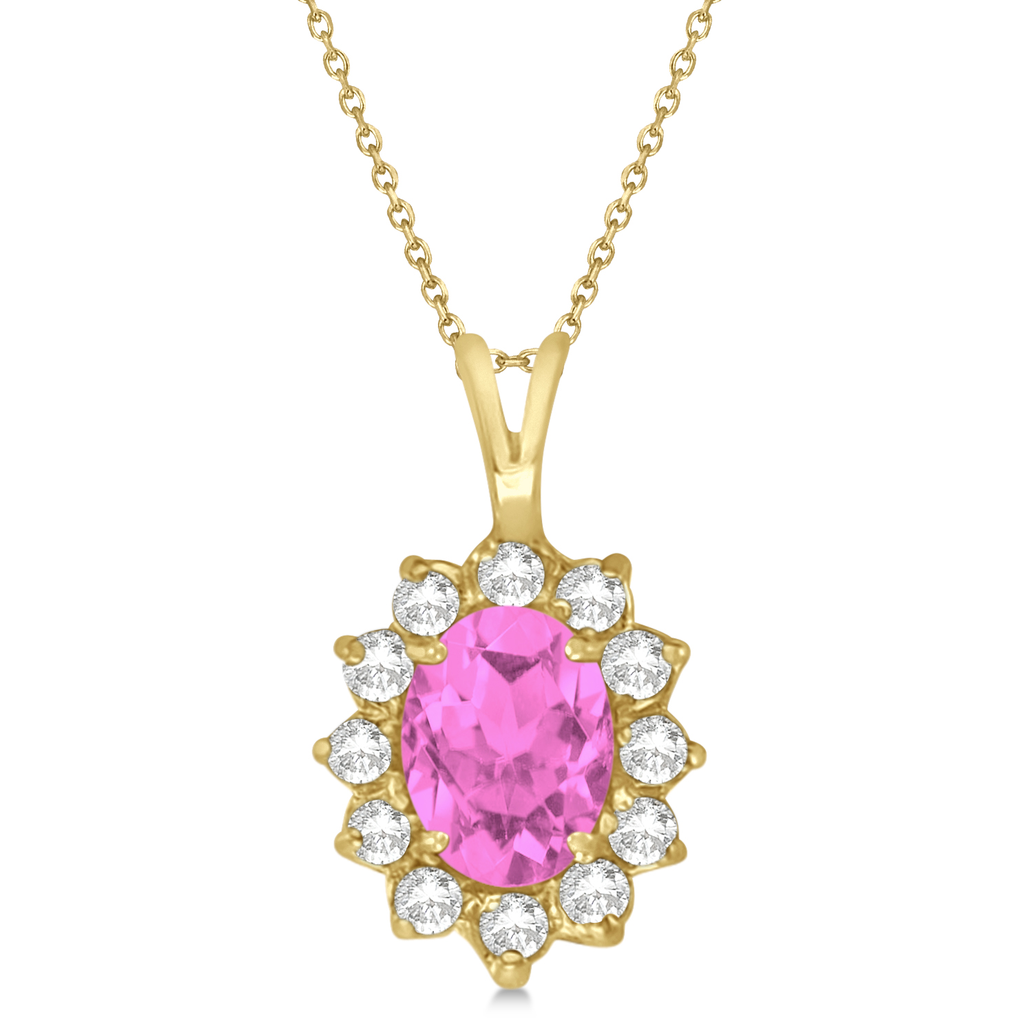 Pink Sapphire & Diamond Accented Pendant Necklace 14k Yellow Gold (1.70ctw)