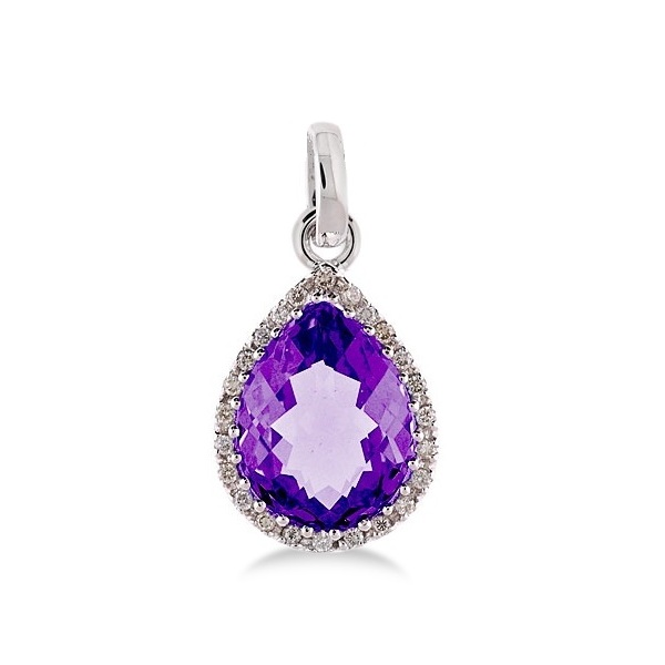 Pear Shaped Amethyst and Diamond Pendant Necklace 14k White Gold